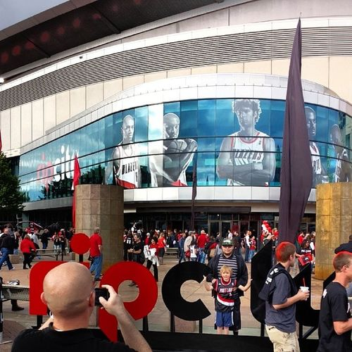 It's real festive out here. Trailblazers Portland Modacenter Playoffs