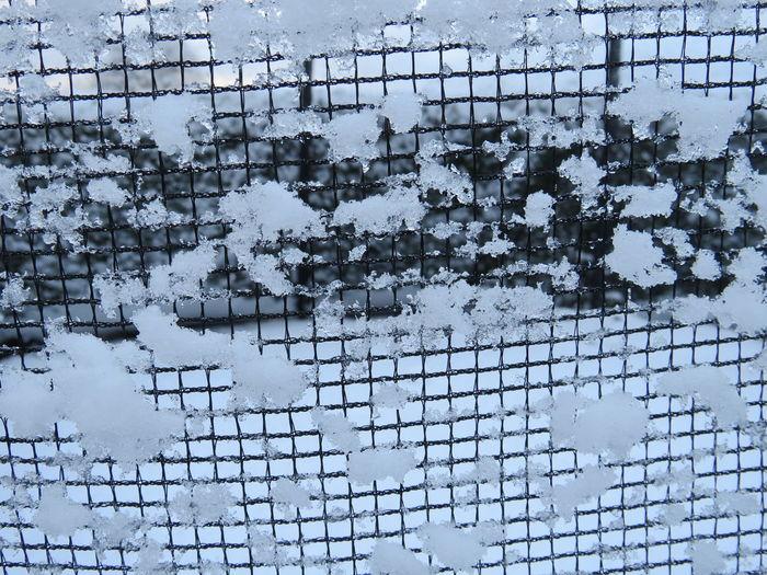 Full frame shot of snow on window
