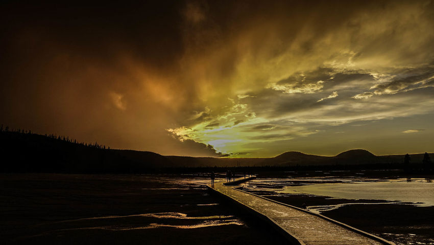 Yellowstone National Park Beauty In Nature Grand Prismatic Spring Landscape Nature Sunset