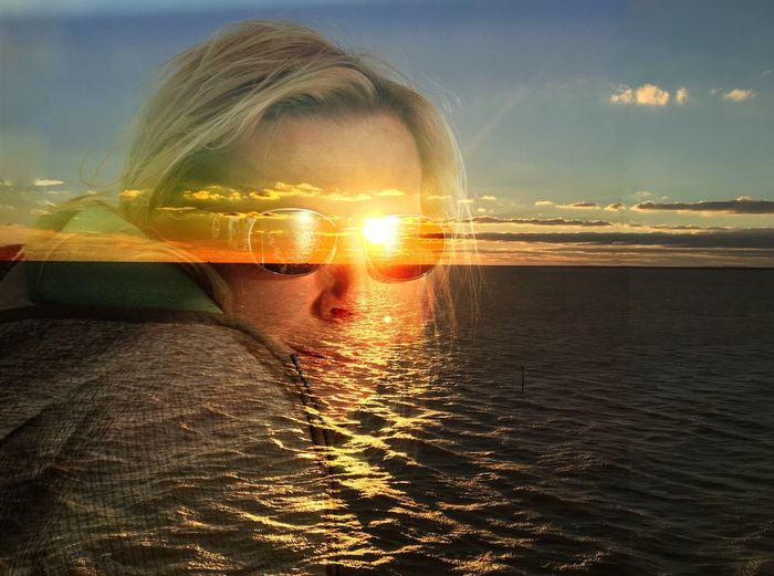 Pivotal Ideas Sunset Sunsets Horizon Over Water Ocean Cruise Portrait Portrait Of A Woman Sunglasses Double Exposure Doubleexposure Vacation Meditation Tranquil Scene Tranquility Summer Water Water Reflections Sun Beams Clouds And Sky Oceanside Sunsets Eyeemphoto