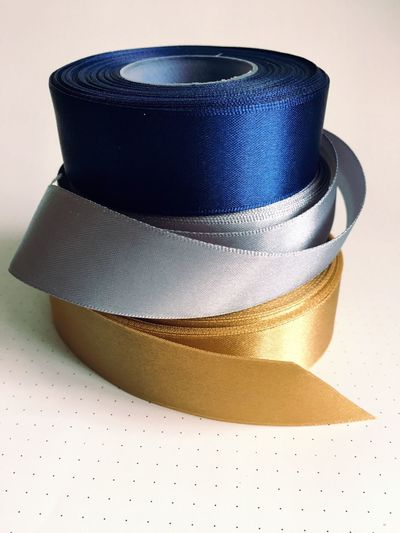 Navy blue /Silver/Gold satin ribbon No People Indoors  Close-up Day Satin Ribbon Shine Silver Colored Navy Blue Gold Colored