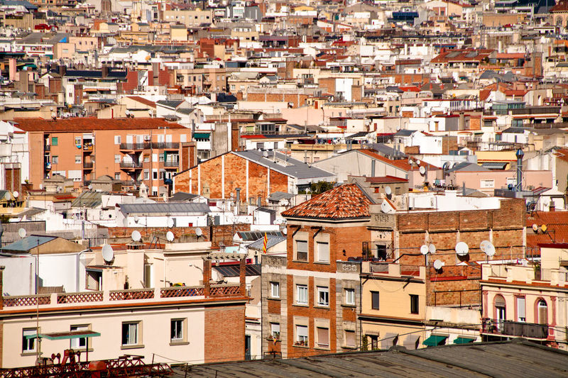 High angle view of buildings in barcelona