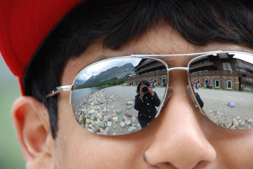 Seeing the World Through My Child's Eyes Adults Only Artistic Selfie Beauty Close-up Glacier National Park Montana Headshot Hotel Lake Outdoors People Picture Of A Picture Portrait Reflection Rocks Sunglasses