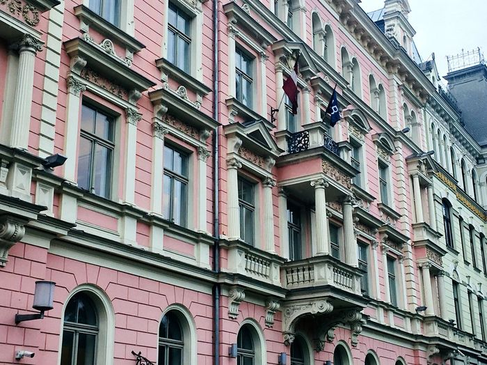 Architecture Building Exterior Window City IPhoneography Built Structure Latvia Riga Latvia Riga Travel Destinations Traveling Pink Color Art Nouveau Architecture Europe Europe Trip Pink Pink Hue Pink Building
