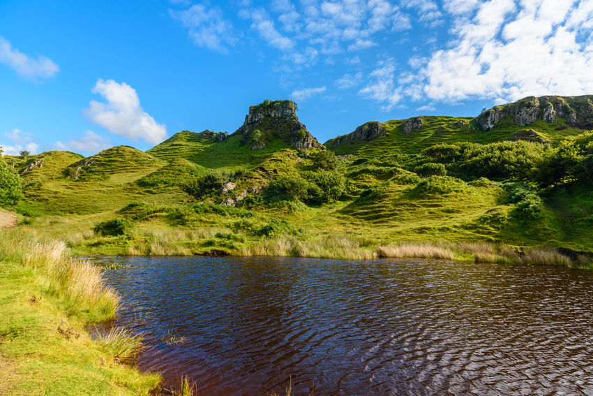 Fairy Glen Scotland Scottish Uig Beauty In Nature Cloud - Sky Day Grass Green Color Growth Highlands Idyllic Landscape Mountain Mountain Range Nature No People Outdoors Scenics Sky Tranquil Scene Tranquility Tree Water