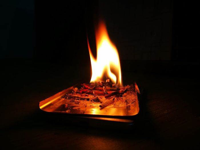 Black Background Flame Heat - Temperature Burning Single Object Glowing Copy Space Diya - Oil Lamp Close-up