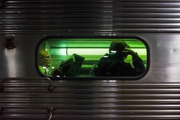 Green Color Night Transportation Indoors  Illuminated Close-up Train Station The Week On EyeEm