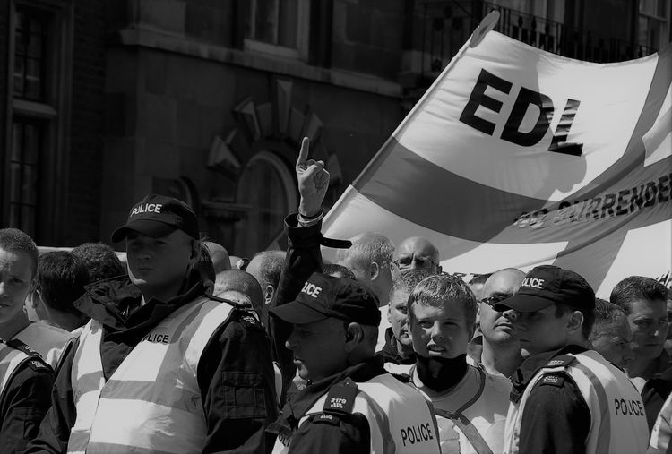 Black & White Cambridge Crowd EDL Flag March People Protest Protestors Street Photography