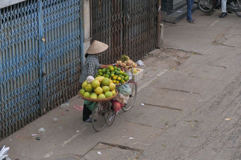 High angle view of fruits for sale on street