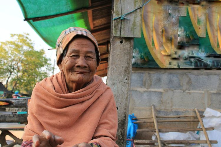 Close-up of senior woman in the winter.