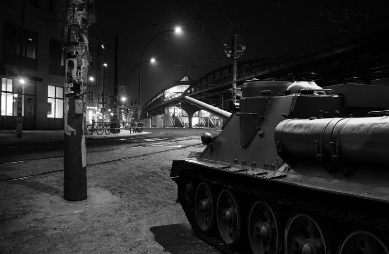 Armored Tank On Street At Night