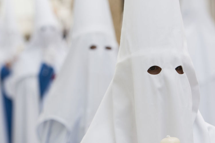 Close-up of people wearing costume outdoors