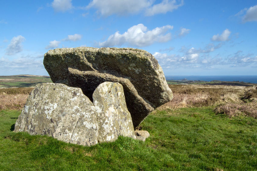 Mulfra Quoit, Ancient Burial Chamber, near Newmill, Penzance, Cornwall UK Bronze Age Burial Chamber Cloud - Sky Cornwall Cornwall Uk Dolmen Grass Iron Age Mulfra Quoit Neolithic Neolithic Stones No People Outdoors Rock Rock - Object Sky Tranquility