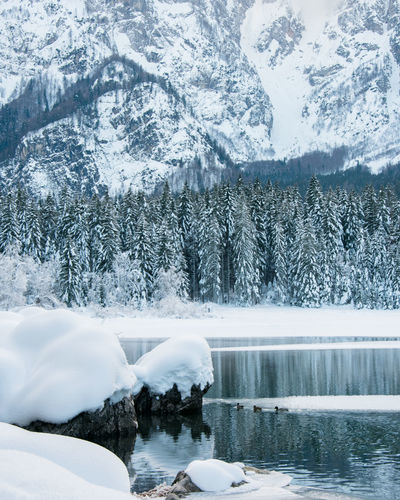 Frozen lake by snowcapped mountain during winter