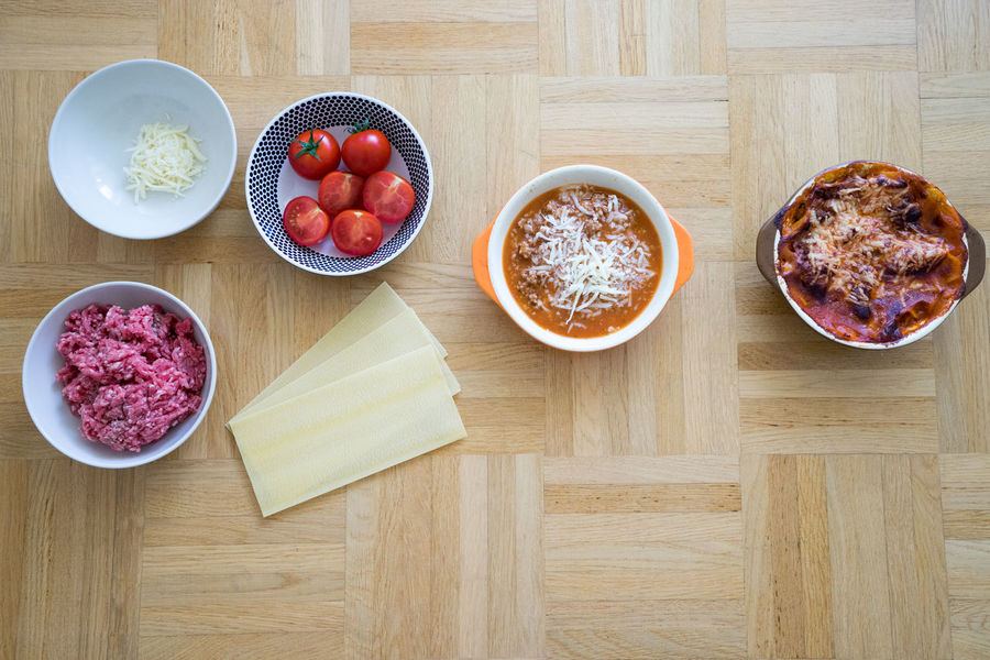 Before And After Bowl Cheese Directly Above Food Foodphotography Freshness Ground Meat Ingredients Lasagna Lasagne Lunch Meat Minced Minced Meat No People Overhead View Plate Ready-to-eat Refreshment Serving Size Tomato Tomatoes Wood - Material Wooden