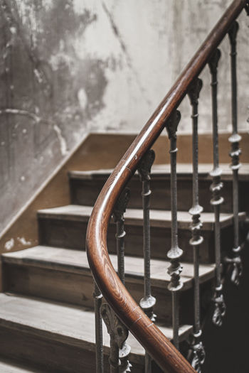 Close-up of metal railing on staircase