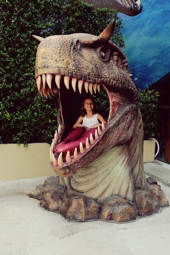 Funny girl. Arts Culture And Entertainment Day Outdoors People Girl Theme Parks Funny Moments Funny Face DinosaursAroundTheWorld EyeEm Selects