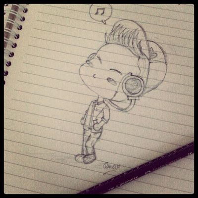 "Hey @bangstergram this is you ;] ""enjoy ma music"" BAP Yongguk Fanart Sketchart cute"