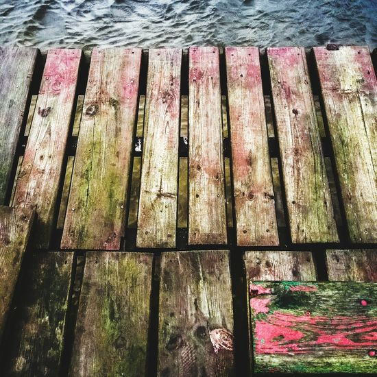 Colored wood Pier Lake