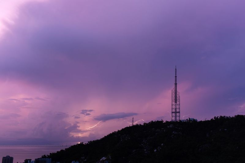 Lighting Sky Tower Architecture Built Structure Cloud - Sky Communication Pink Color Broadcasting Tall - High Beauty In Nature No People