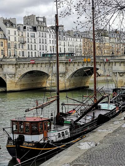 Walk Along The River Bridge - Man Made Structure Paris ❤ Pont Neuf La Seine River Riverside Boats Nautical Vessel Water City Sky Architecture Building Exterior Built Structure