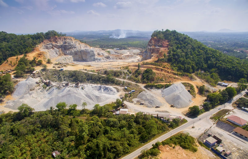 aerial view quary factory in marang terengganu malaysia Aerial View Day Elevated View Green Color Growth Hill Idyllic Landscape Mountain Mountain Range Nature No People Non-urban Scene Outdoors Quary Rock Rock Formation Scenics Sky Stone Tranquility Tree Valley