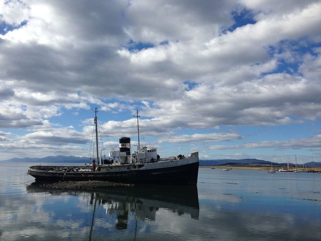 Boat Calm Cloud Cloud - Sky Cloudy Day Harbor Idyllic Mast Mode Of Transport Nature Nautical Vessel No Filter, No Edit, Just Photography No People Outdoors Overcast Patagonia Rippled Sailboat Scenics Ship Sky Tranquil Scene Tranquility Water