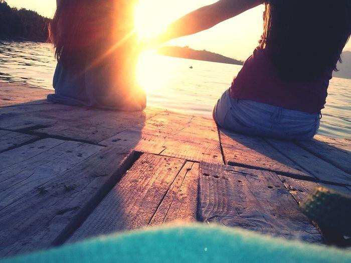 Sunshine Best Friends Spending Time Together Enjoying The Sea