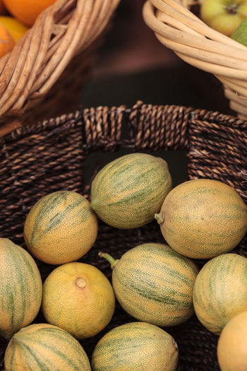 Close-Up Of Melons In Wicker