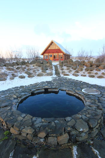 log cabin in northern iceland Architecture Geology Hot Tub Iceland Iceland_collection Log Cabin Natural Outdoors