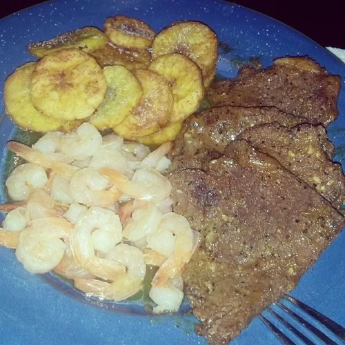 How I get down ;-) I didn't make it this morning though lol Shrimp Steak Friedplantains