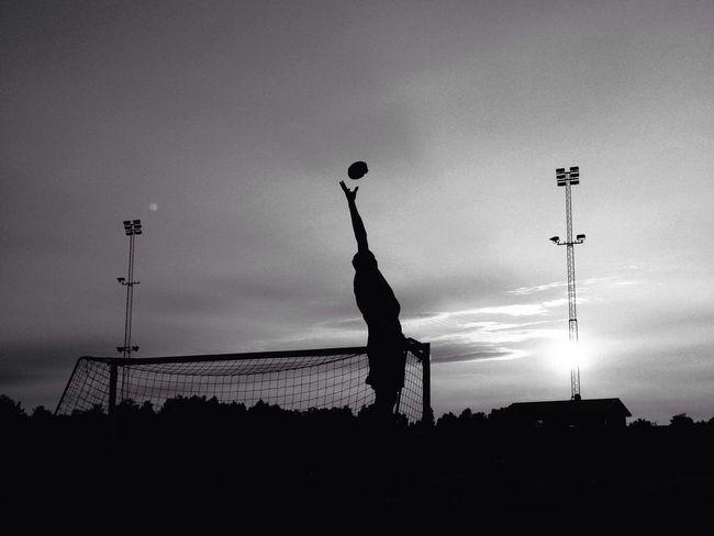 Enjoying Life Playing Football Blackandwhite