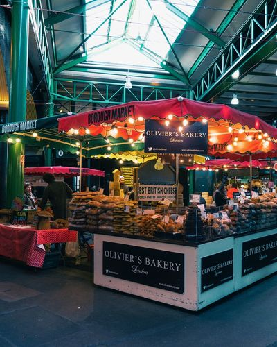 OLIVIER'S BAKERY Lights Colored Bakery London lifestyle Food Market Market FoodHeaven Borough Market Illuminated For Sale Communication Market No People Food And Drink