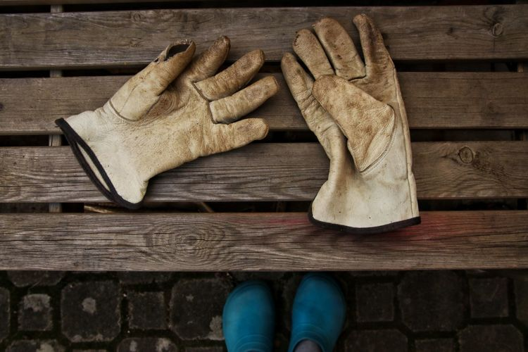 Low section of gloves lying on wooden bench