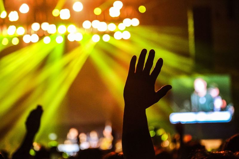 Person Raising Hand At Music Concert