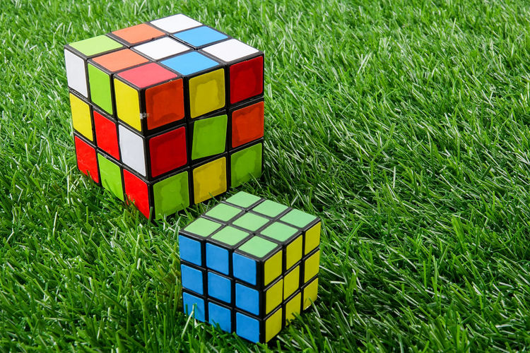 RUBIK CUBE, A CREATIVITY TOY Creative Photography Creativity Close-up Container Cube Shape Day Design Field Geometric Shape Grass Green Color Growth High Angle View Intelligence Land Multi Colored Nature No People Outdoors Pattern Plant Rubik Rubik's Cube Shape Solution Concept Toy