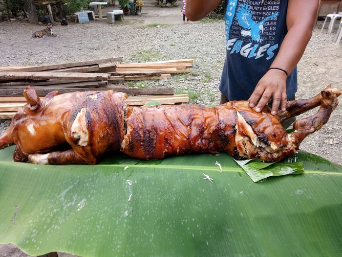 Midsection of man preparing the roasted pig