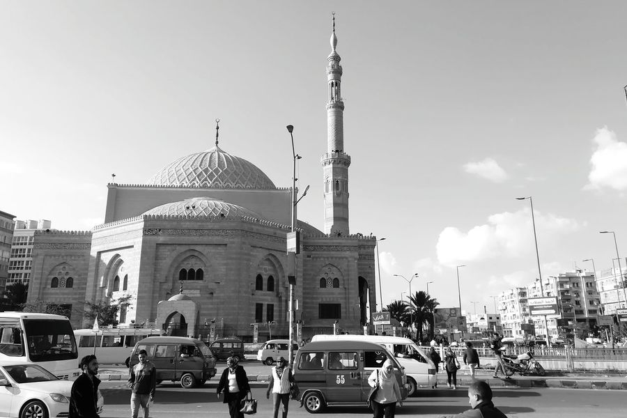 Architecture Car Sky Cloud - Sky Building Exterior Built Structure Day Travel Destinations City Blue OutdoorsEgypt Egypt Cairo Egyptphotography Beautiful ♥ P10lite Street Photography Cameraphone Love To Take Photos ❤ FreeTime Mosque Architecture Mosque Blackandwhite Egypt No People