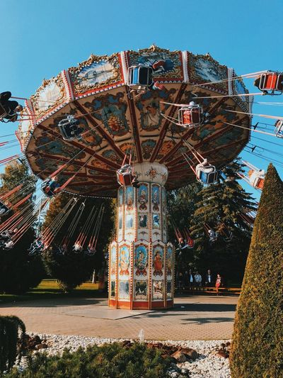 Chain swing ride at amusement park