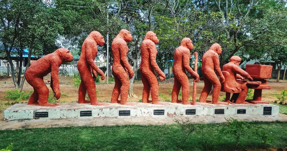 Red Outdoors Darwin Evolution Of Man Civilization Sculpture Southindia Tradional Art Craft Work