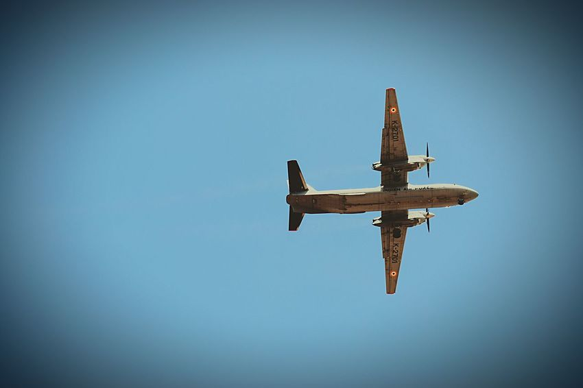 Cross Flying Airplane Religion Blue Low Angle View Spirituality No People Clear Sky Transportation Military Day Outdoors Airshow Sky IndianAirForce IAF EyeemselectsEyeEm Selects