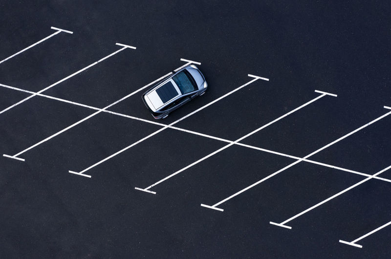 High angle view of traffic sign on road