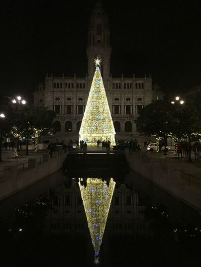 30 day to go christmas is comming! Night Illuminated Architecture Built Structure Building Exterior Christmas christmas tree Christmas Decoration Celebration Decoration Tree Holiday Lighting Equipment No People Water Christmas Lights Outdoors City Sky Holiday - Event