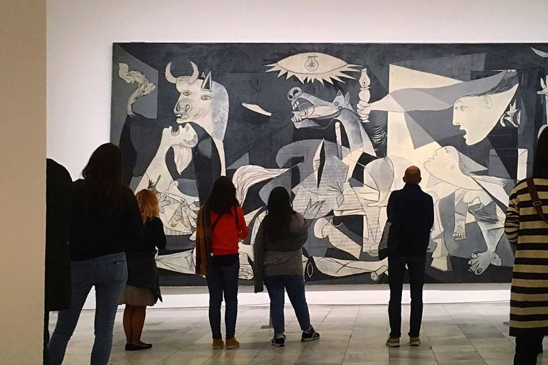 """Art speaks where words are unable to explain."" Guernica Picasso SPAIN Madrid War Art Full Length People Men Nowords Blackandwhite Day Traveling"