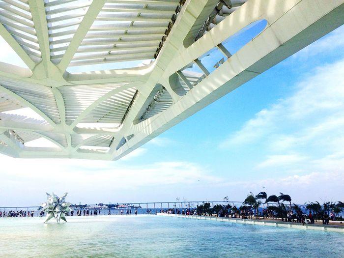 Museu do Amanhã - RJ Waterfront Rio De Janeiro Cidademaravilhosa Museudoamanha Water Architecture Sky Modern