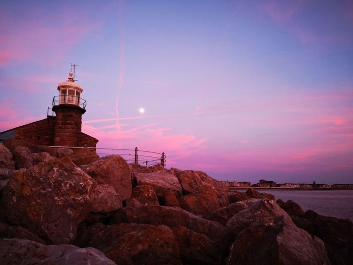 Colors Calm Eyemphotography EyeEm Gallery Beauty In Nature Nature Seascape Pink Purple Sky Lighthouse City Water History Sky Architecture Landscape Moon The Great Outdoors - 2018 EyeEm Awards