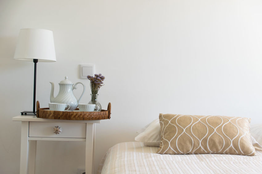 Service room - Coffee in the hotel. Bed Bedroom Comfortable Day Electric Lamp Home Interior Home Showcase Interior Illuminated Indoors  Lamp Shade  Lighting Equipment No People Pillow Sheet Side Table