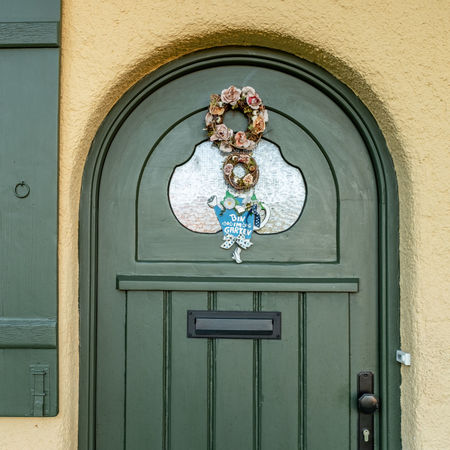Angel Arch Architecture Art And Craft Blue Building Building Exterior Built Structure Closed Creativity Day Door Door Knocker Doorknob Entrance Human Representation No People Outdoors Representation Safety
