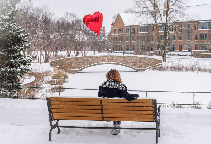Date Love Park Bench Valentine Valentine's Day  Waiting Balloon Building Exterior Cold Temperature Day Lifestyles Nature One Person Outdoors People Real People Rear View Single Snow Snowing Tree Weather Winter Young Adult Young Women