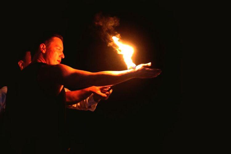 Flame Burning Fire Fire - Natural Phenomenon Heat - Temperature One Person Glowing Dark Men